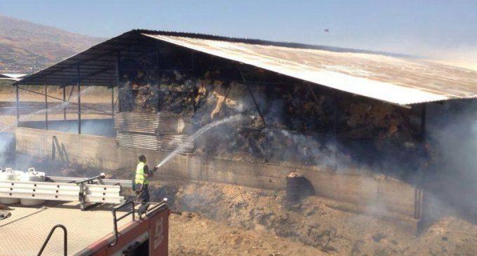 حريق في مستودع للتبن بسلا