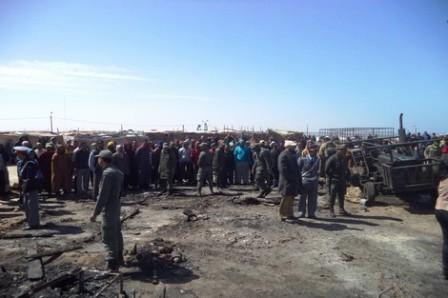 صورة حريق بقرية للصيادين بالداخلة يخلف خسائر مادية مرتفعة