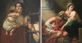 صورة اللوحه التي هزت العالم : أمراة شابة ترضع رجلاً كهلاً ما قصة هذه اللوحة